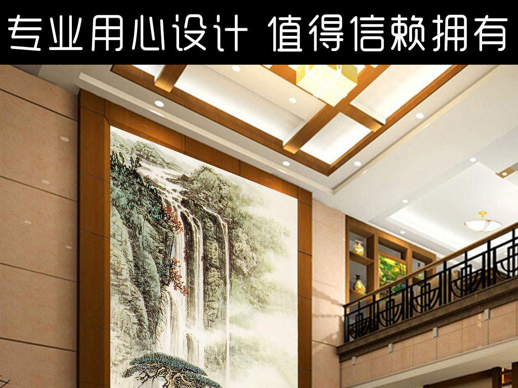 中式背景过道玄关背景墙瓷砖欧式玄关背景墙