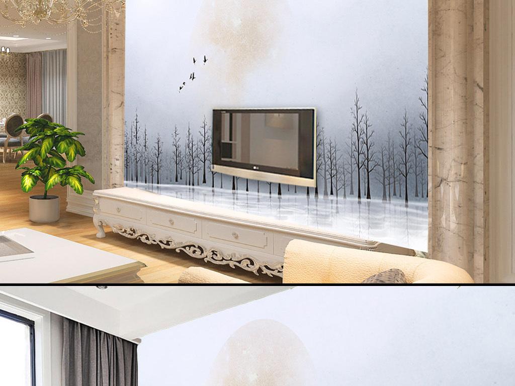 欧式唯美意境手绘树林简约背景墙壁画