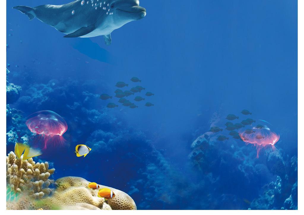 唯美海底电视背景墙下载3d立体