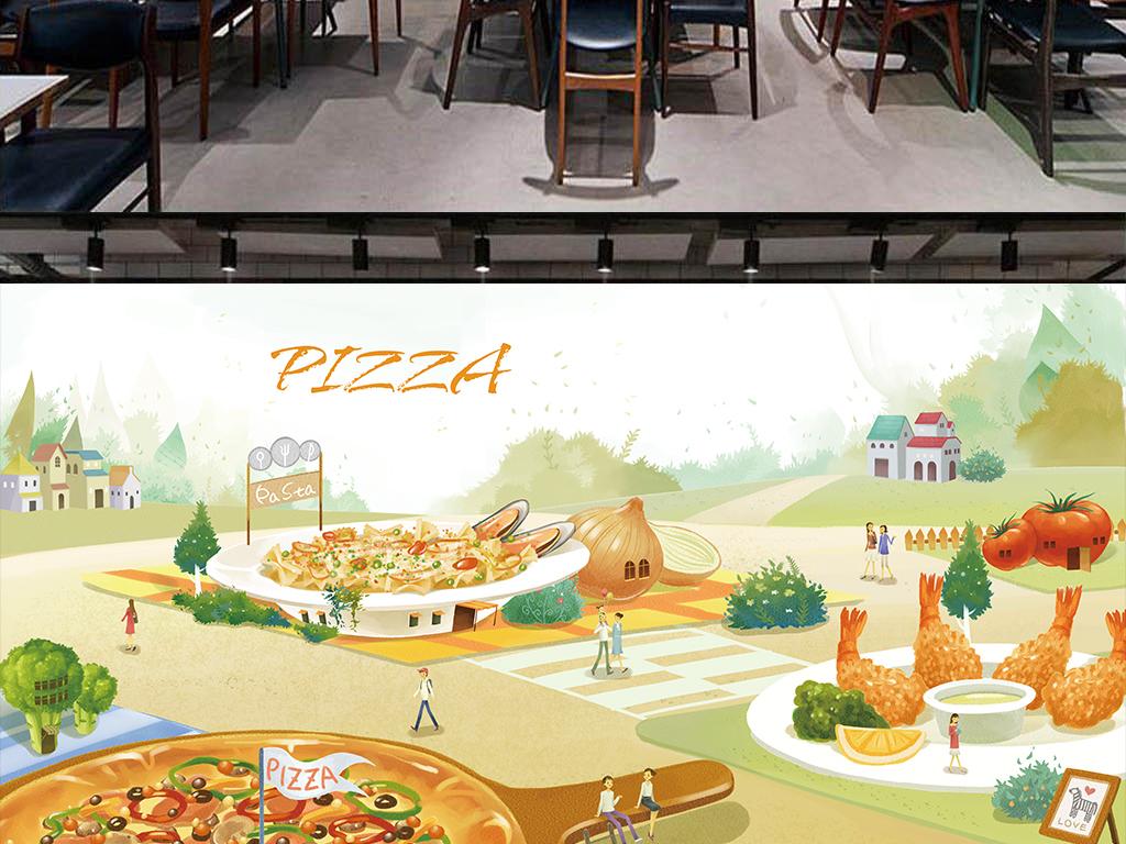 手绘高清卡通披萨店背景墙(图片编号:15844732)