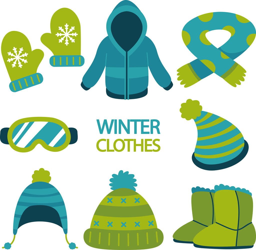 手绘物品冬季衣服帽子围巾