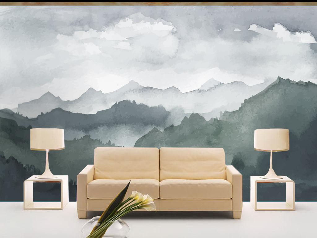 山水写意意境唯美新中式简约背景墙图片