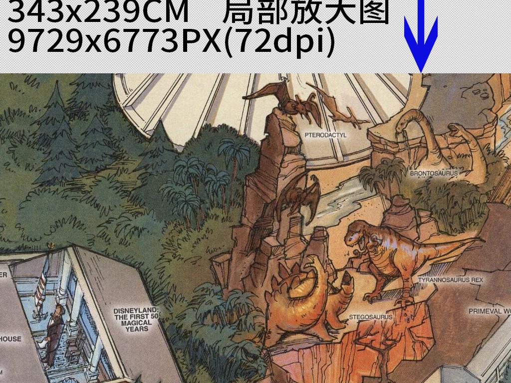 美国迪士尼地图手绘图背景墙装饰画(图片编号:)_欧式