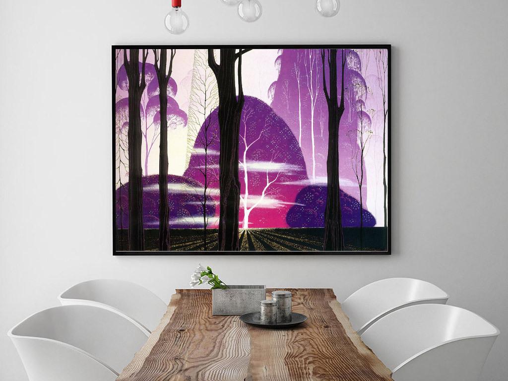 背景墙|装饰画 无框画 风景无框画 > 手绘彩色唯美森林风景无框画