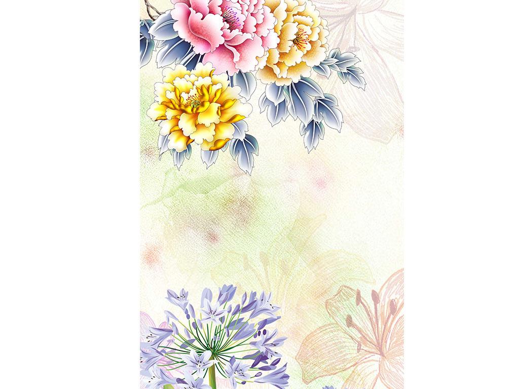 手绘花花开富贵天梯