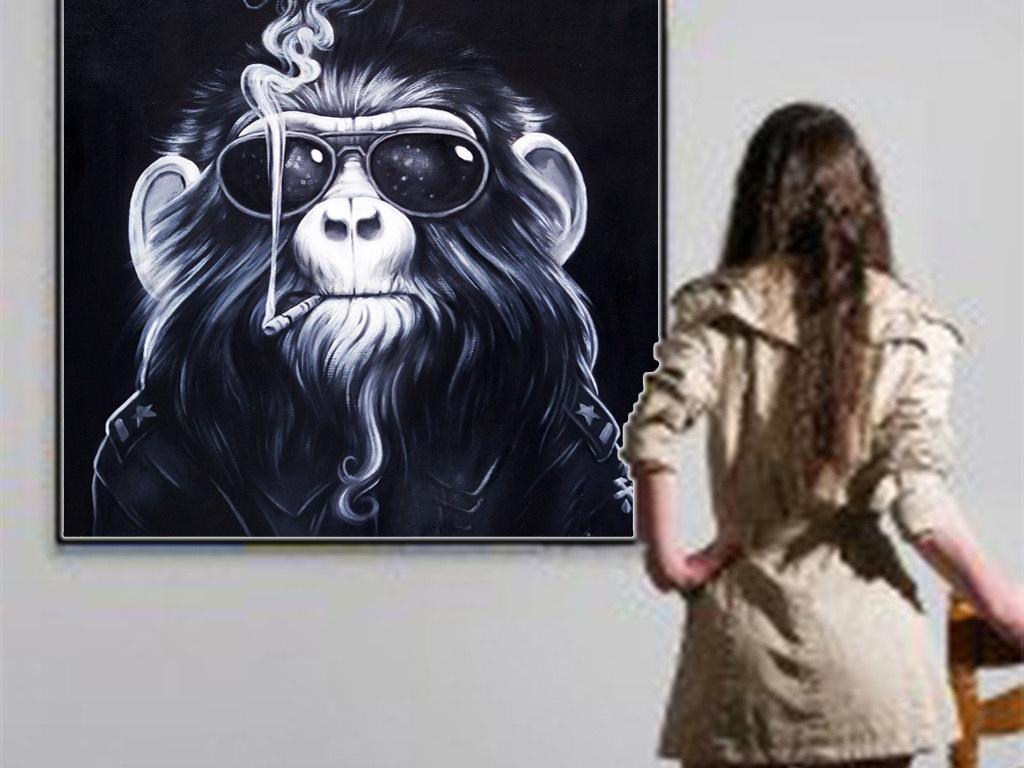 高清抽烟美猴王油画图(图片编号:15846203)_动物图案