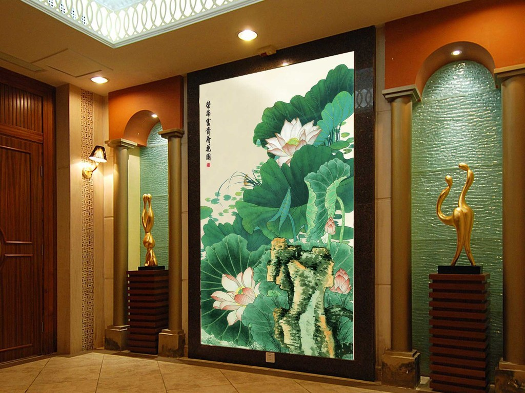 水墨荷花中式玄关背景墙图片