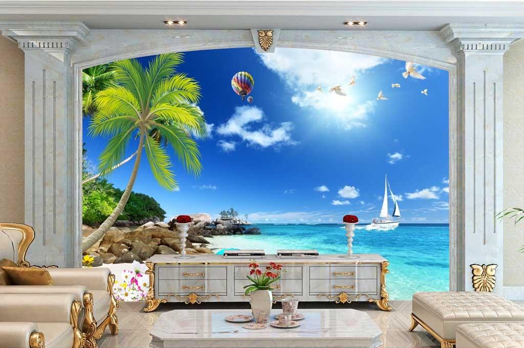 大海帆船电视背景墙