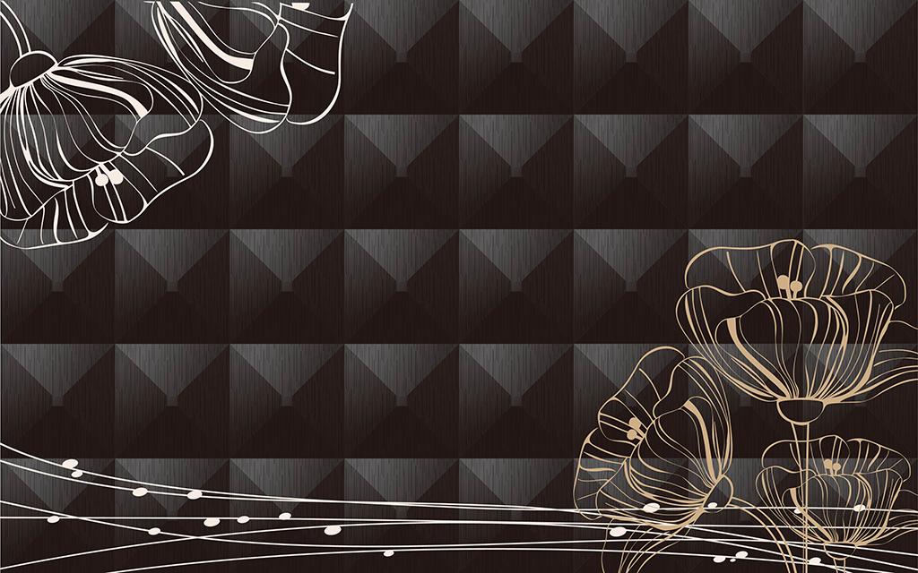 3d立体手绘简约花背景墙