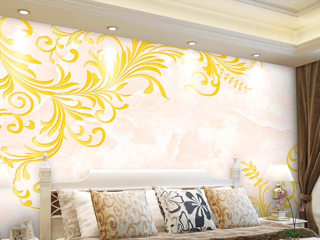 欧式花纹大理石纹电视背景墙