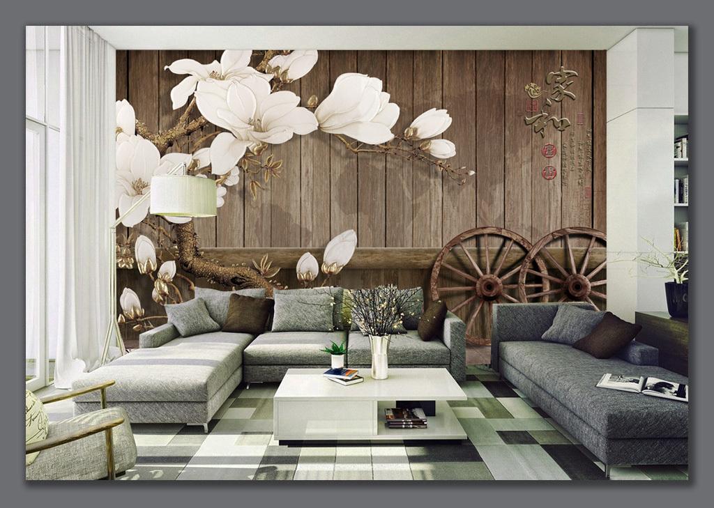 家和富贵复古木板车轮电视背景墙图片