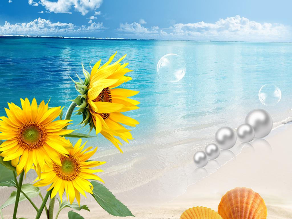 彩铅手绘风景画海滩