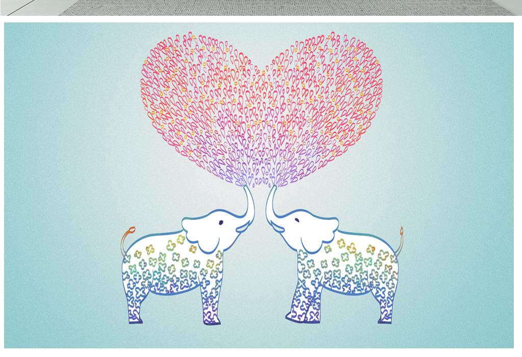 手绘卡通爱心大象背景墙装饰画