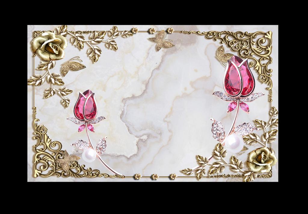 精品流行时尚欧式珠宝玫瑰花相框电视背景素材下载