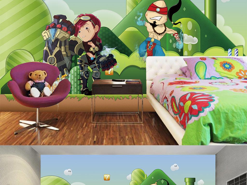 儿童房卡通人物背景
