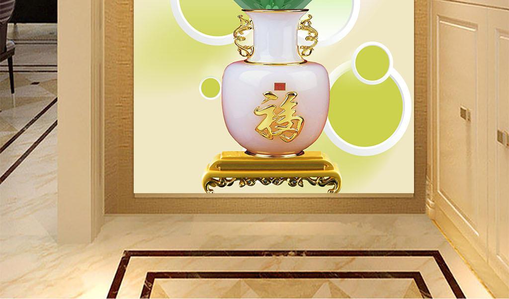3d圆圈家和玉雕兰花花瓶玄关