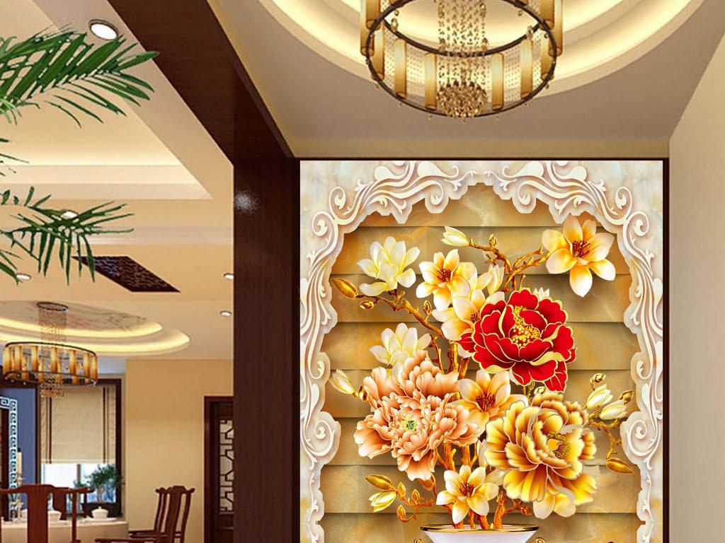 设计作品简介: 花开富贵花瓶中式玄关