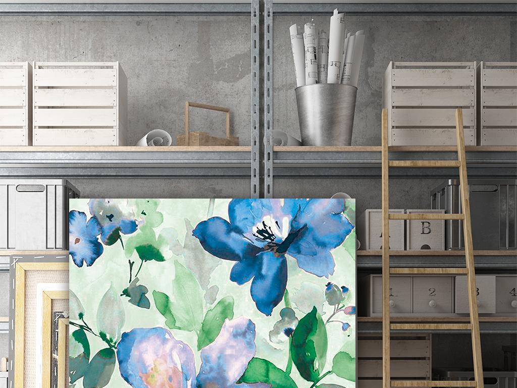 高清彩绘梦幻素颜水彩花卉植物无框画