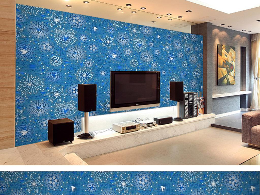 手绘卡通碎花卧室客厅浮雕彩雕电视背景墙