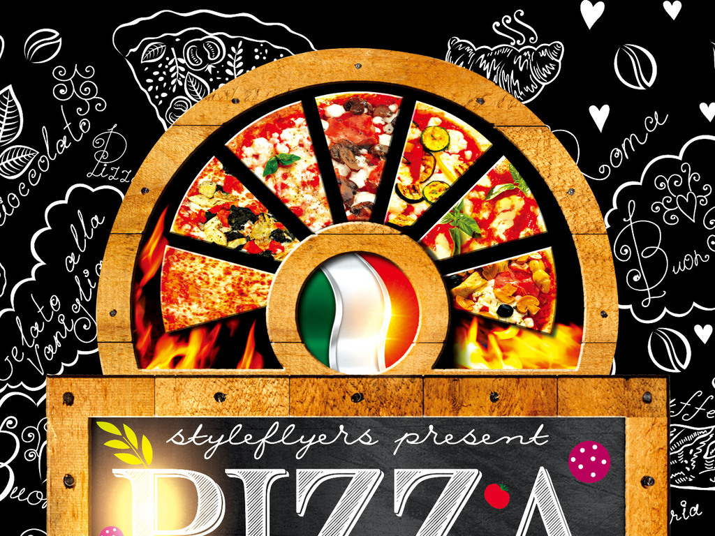 手绘风格披萨促销宣传海报psd模板