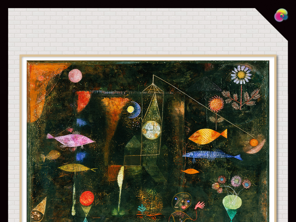 欧美复古手绘高清抽象涂鸦客厅装饰画
