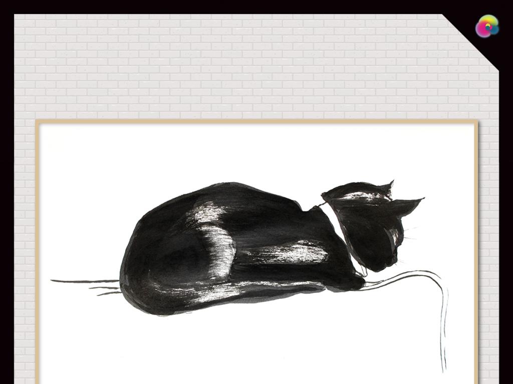 黑白手绘猫与人
