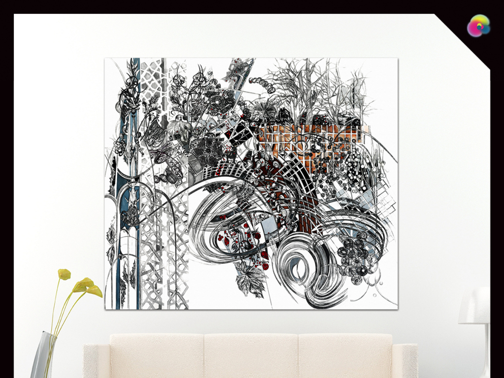 高清欧美建筑装饰画喷绘手绘图片画芯图片素材下载
