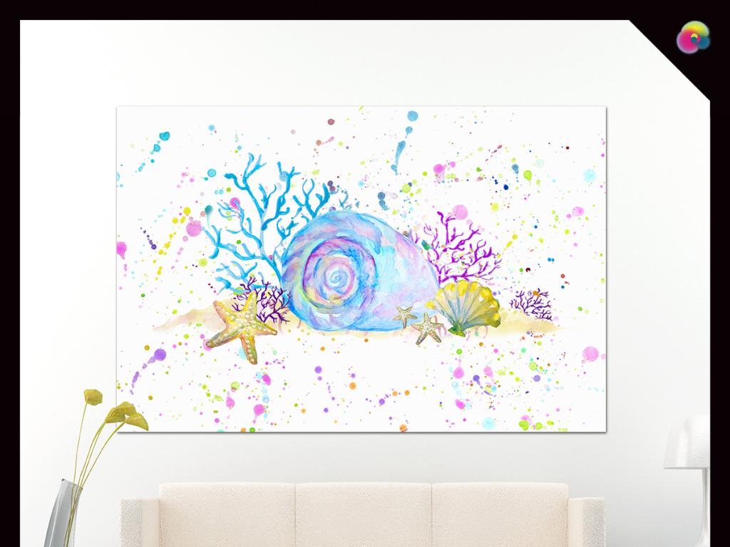 现代简约手绘抽象蜗牛小清新水彩画装饰画