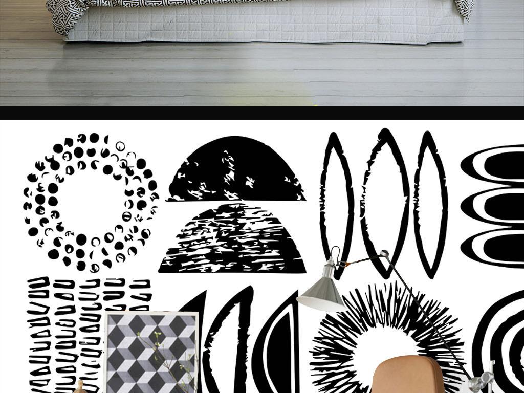 现代简约黑白手绘个性图案墙纸