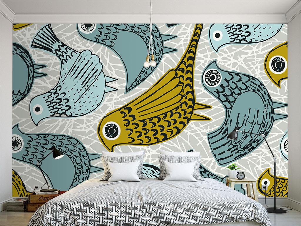 线条手绘小鸟简约手绘室内设计室内装饰画室内窗户