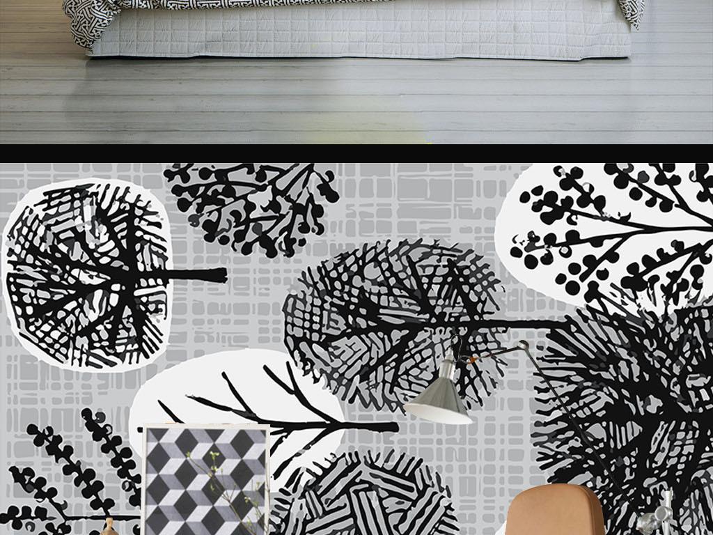 线条现代手绘室内设计室内装饰画室内窗户设计图片3d