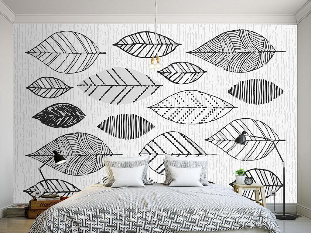 现代简约手绘线条树叶黑白墙纸(图片编号:15847630)