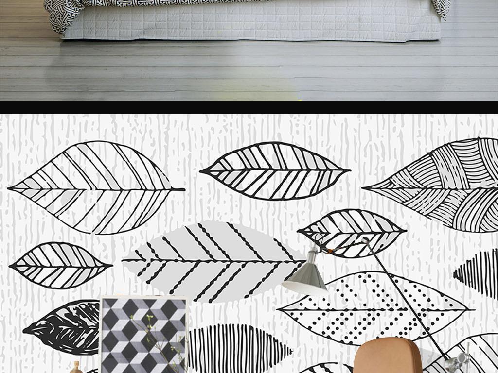 现代简约手绘线条树叶黑白墙纸