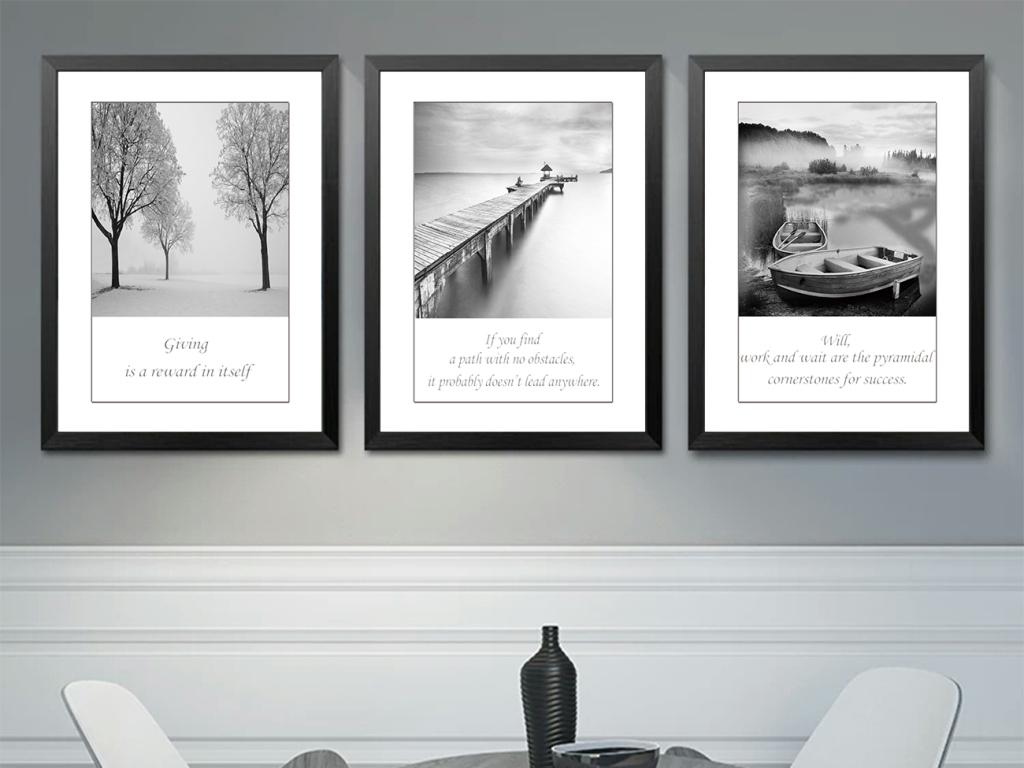 现代简约黑白风景图无框画