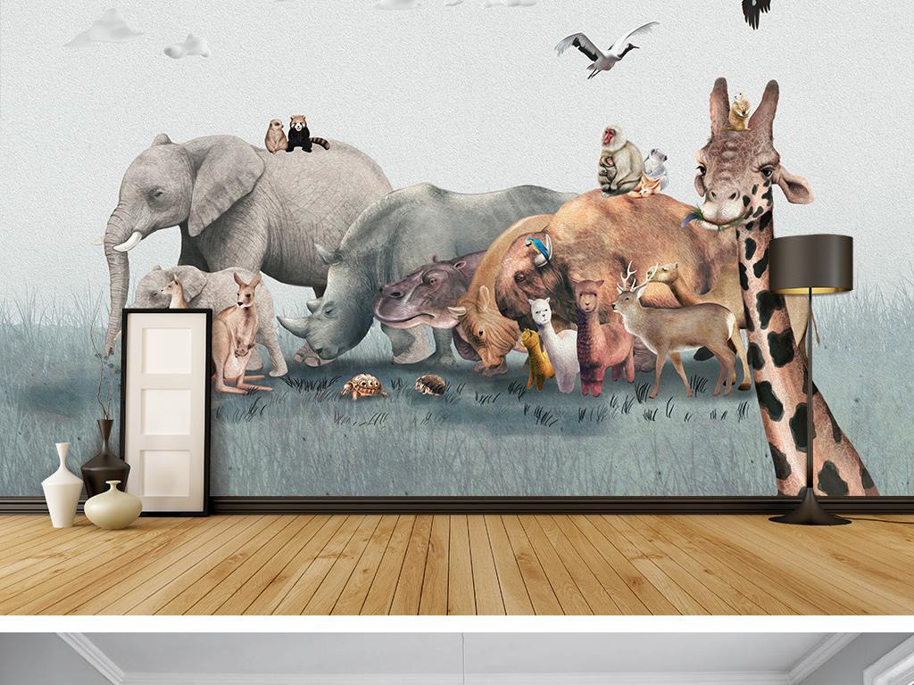 手绘背景墙水彩油画动物世界动物园大象长颈鹿犀牛