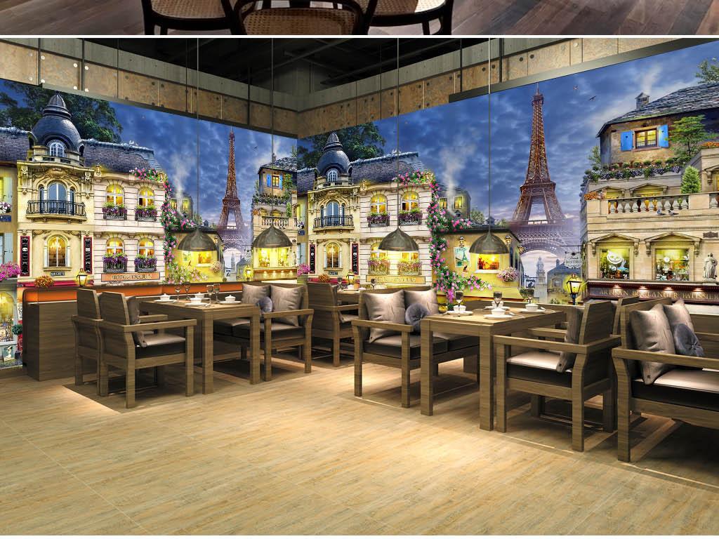 手绘欧洲浪漫法国街景咖啡店餐厅工装背景墙