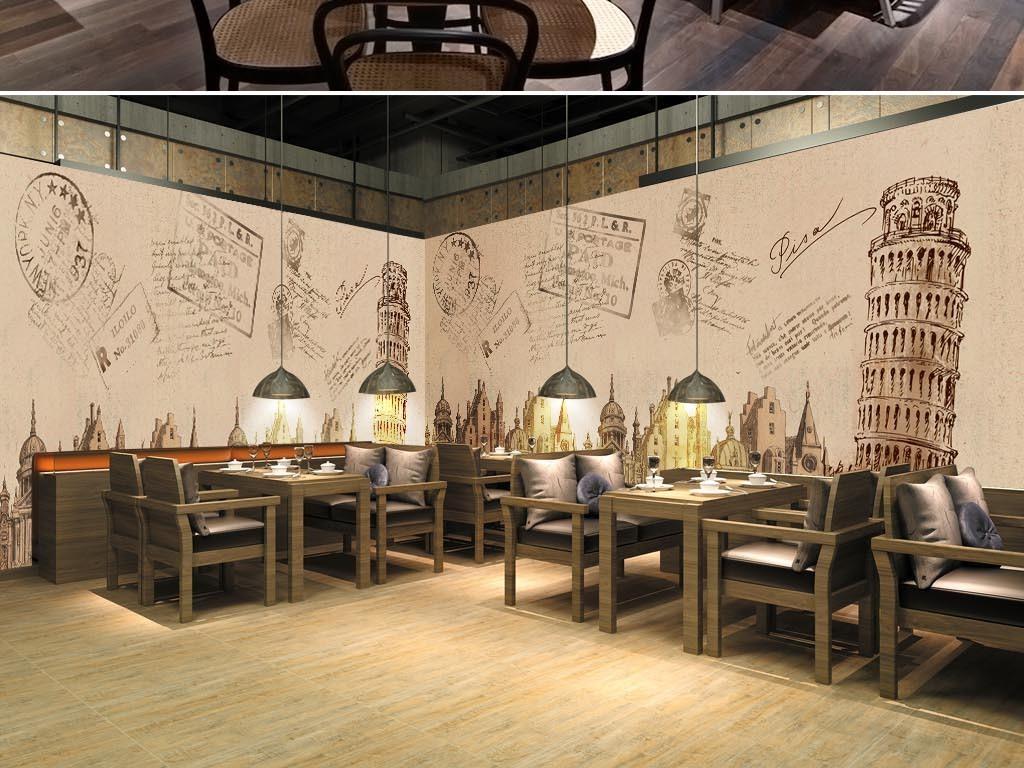 大型手绘高清复古比萨斜塔餐厅工装背景墙