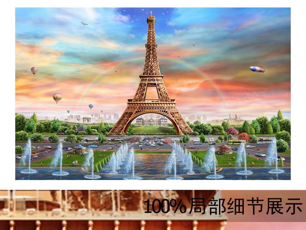 手绘欧洲经典建筑埃菲尔铁塔餐厅工装背景墙