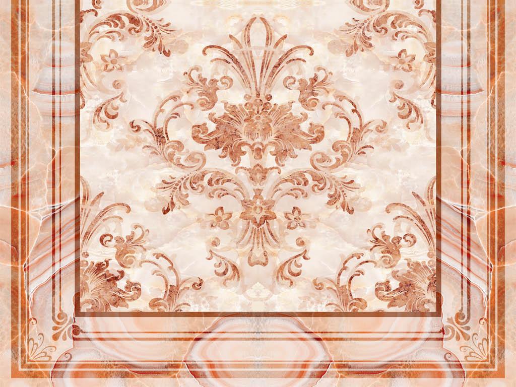 欧式复古花纹大理石纹拼花3d地板地砖图片设计素材_(.图片