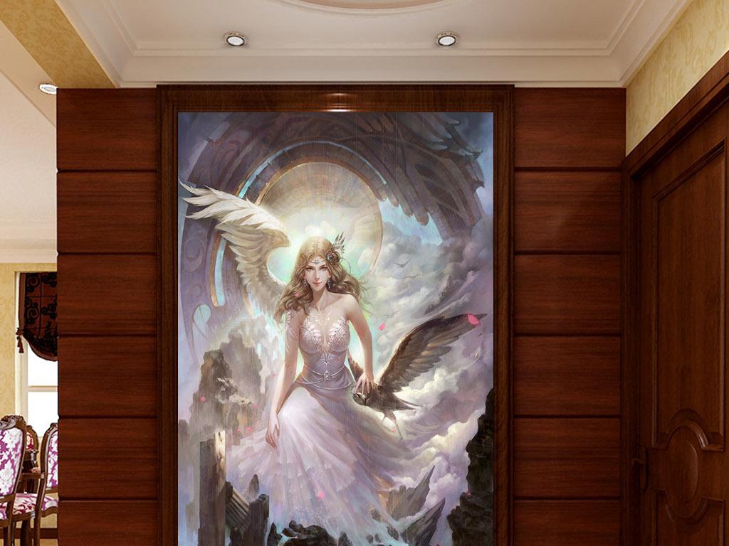 美女天使欧式华丽现代家居客厅玄关壁画