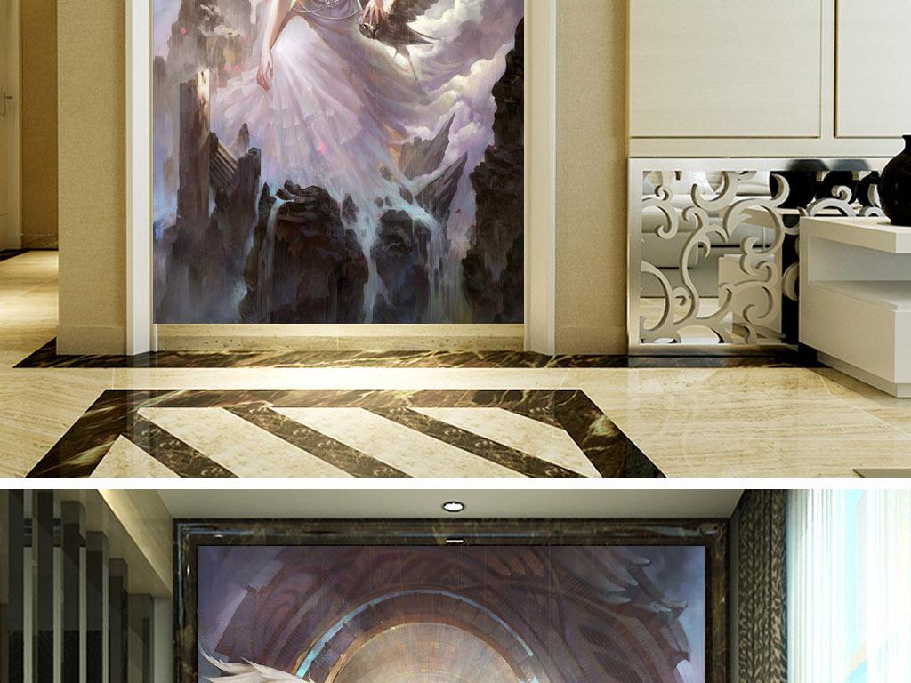 背景墙墙画无框画屏风欧式玄关美女现代玄关玄关壁画