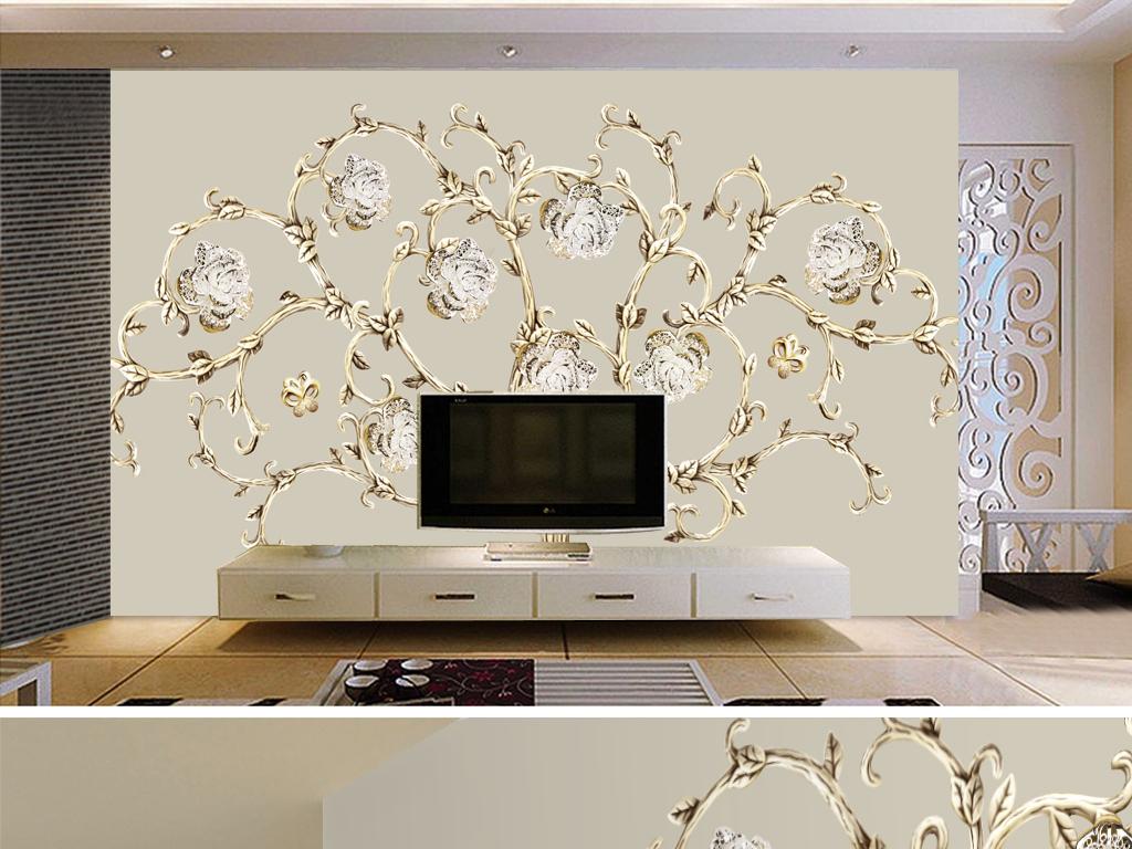 流行钻石金属花朵浪漫唯美欧式花纹电视背景墙素材
