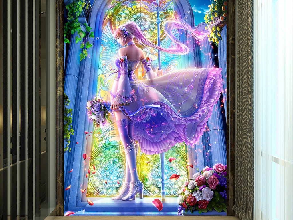 梦幻壁画手绘水彩画装饰画玄关背景墙墙画无框画屏风欧式玄关现代玄关
