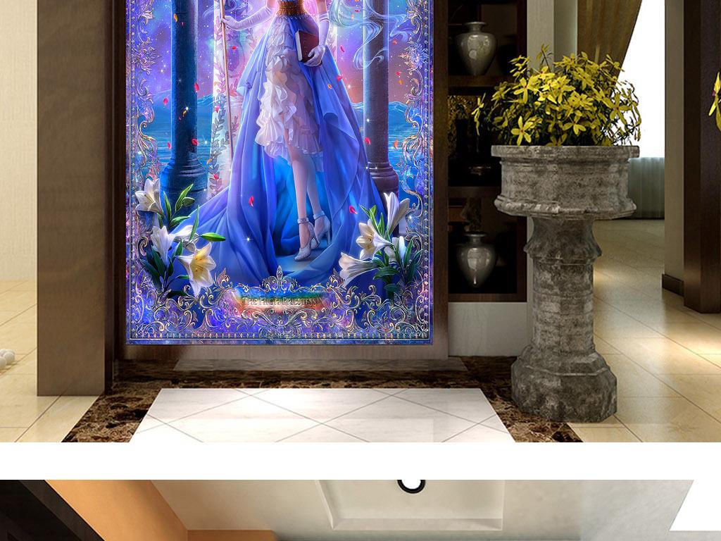 精灵公主北欧神话欧式奢华客厅玄关装饰画
