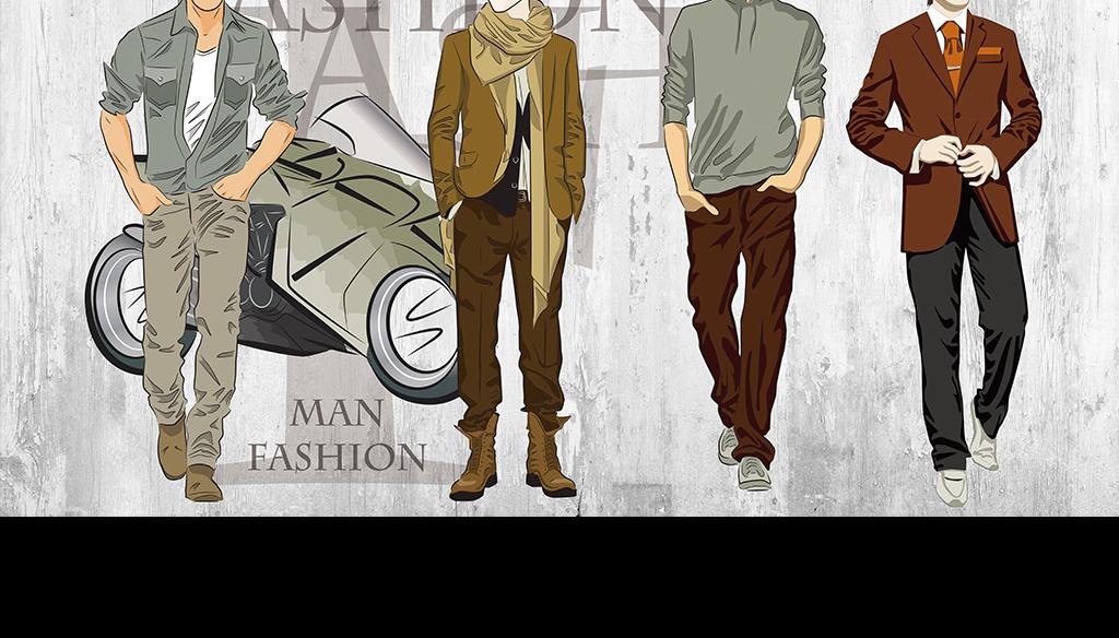 时尚男装复古服装店背景墙