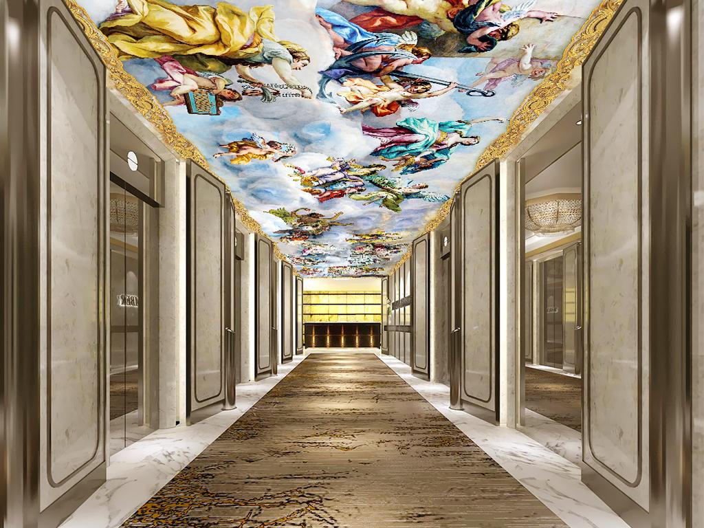 psb)约翰米夏埃尔罗特梅尔维也纳卡尔教堂天顶酒店天顶走廊吊顶图片