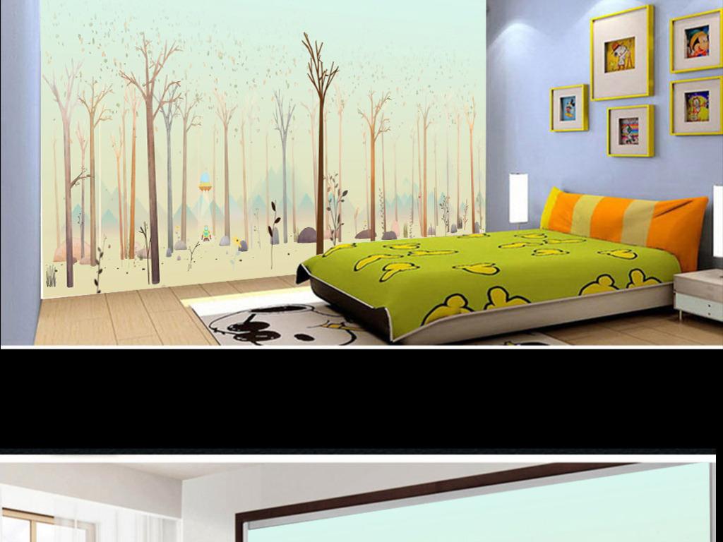 儿童卡通树林卧室背景墙