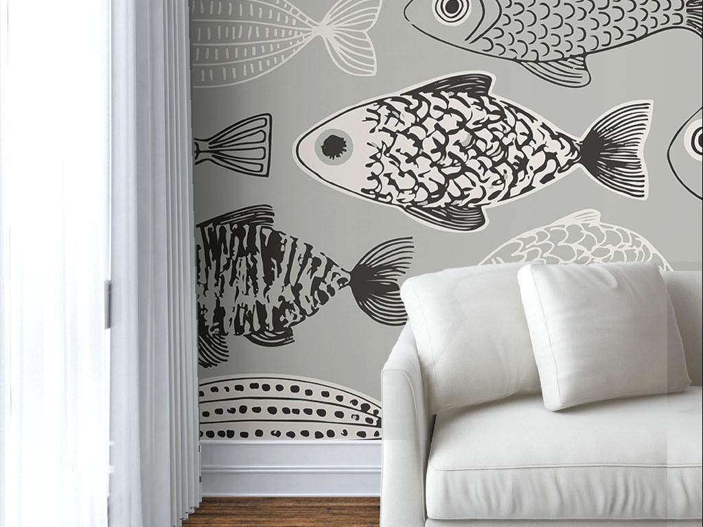 现代简约手绘鱼墙纸