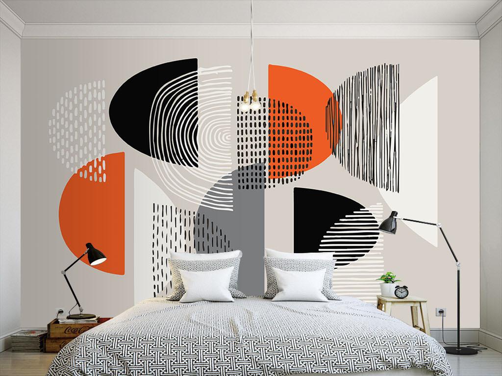 现代简约个性线条手绘墙纸