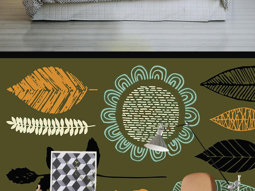 现代简约手绘植物个性墙纸